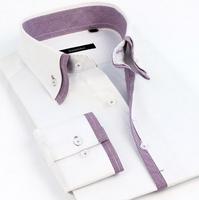 New 2014 Men'S Authentic Brand Business Dress Shirts Casual Stitching Double Collar Cotton Shirts Men'S Dress Shirts XG8-228