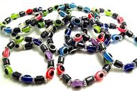 Wholesale 80 pcs Mixed color fashion elastic beaded bracelet Free shipping