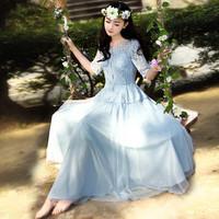 Swing fairy 2014 female princess lace one-piece dress fairy