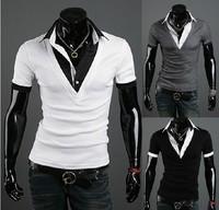 free shippin/men's tshirt/fashion best quality collar 5957