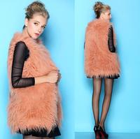 WPY09 2014 Autumn And Winter Women'S Fur Coats Long Sections Temperament Luxury Fur Vest Vest Jacket