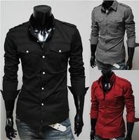 hot sale Two-pocket men's casual fashion epaulette design Slim long-sleeved shirt 4size