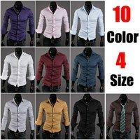 Free Shipping 2013 Mens Slim fit Unique neckline stylish Dress long Sleeve Shirts Mens dress shirts