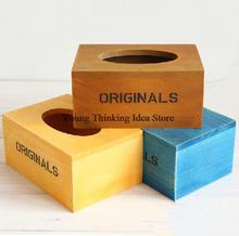 "Free shipping zakka groceries Japanese-style retro wood tissue box with word""original"" organizador storage box wholesale 3 color(China (Mainland))"