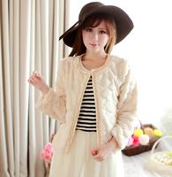 WPY08 2014 New Winter Women'S Fashion Imitation Rabbit Fur Coat Plush Leather Beaded Short Spell Joker Cardigan Jacket