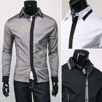 NEW Men's Slim Luxury Stylish gray Dress Shirts,fashionable long-sleeved Shirts free ship