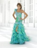2014 summer hot New Arrive A-line One Shoulder Beading Sleeveless Floor-length Organza Prom Dresses / Evening Dresses