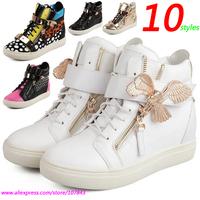 White Eagle GZ Punk Genuine Leather Fashion Sneakers,10-style Double Zipper,Metal Decoration,Street Shoes,EU 35-39,Women's Shoes