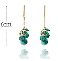 new 2014 fashion crystal top quality tassels earring four colors hot selling  free shipping 203