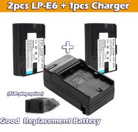 2pcs Replacement LPE6 LP-E6 Camera Battery batterie + 1pcs charger for Canon DSLR EOS 60D 5D2 5D3 7D 6D 70D Mark III wholesale