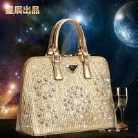 2014 new fashion women's handbag shell bag Medium star with diamond desigual bag leather handbags