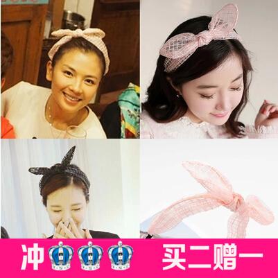 Hair bands sweet plaid silk yarn silks and satins rabbit ears bow hair accessory headband hair pin(China (Mainland))