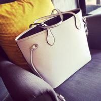 2014 women's fashion handbag white brief large bag shoulder bag water ripple shopping bag vintage bag
