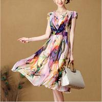 2014 summer plus size clothing bohemia chiffon one-piece dress female print expansion bottom full dress