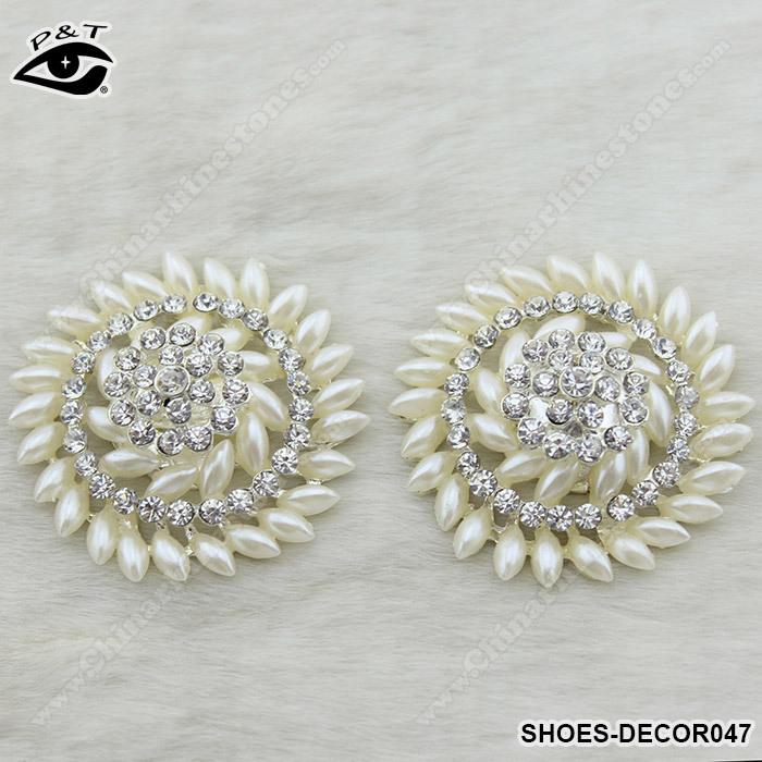 2014 Novo Design Flower Shoe Casamento Clip Pérola Pedrinhas sapatos Decor 1 par / lot frete grátis(China (Mainland))