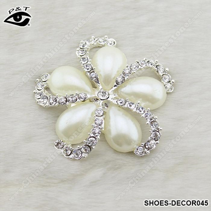 2014 projeto novo da flor strass pérola clip de casamento decoração sapato clip sapato 1 par/lote frete grátis(China (Mainland))