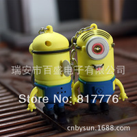 Despicable Me Banana,  LED shine Vocalise key chain, despicable me god steal milk dad, Minions Bag Pendant,free shipping