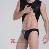 Faux Leather wildness stage performances men's briefs: MS606