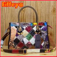 K498 Colorful Snake Print Patchwork Shoulder Bag New Genuine Cow Patent Leather Women Fashion Tote Shining Satchel Handbags