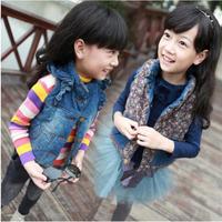 2014 Kids Spring sections on both sides to wear denim vest for girls in denim jacket  tide Children