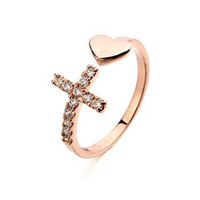 Italina Brand AAA Zirconia Cross Wedding Rings For Women Fashion Jewelry