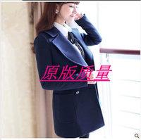 Preppy style autumn and winter women woolen overcoat wool coat outerwear large lapel top female