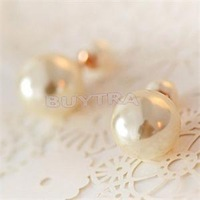 2014 Fashion Jewelry Round Earring For Women Sweet Alloy Pearl Imitation Stud Earrings Women Multicolor