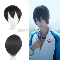 2014 New Holiday Sale Short Wigs with Free Wig Cap Haruka Nanase Straight Cosplay Wig for Men