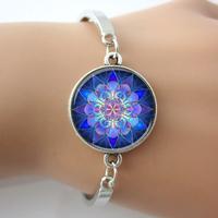 Mandala Bracelet,Mandala Art Bangle,Soothing Blue Mandala,Yoga Jewelry,Vintage Bracelet For Women,H Bracelet Care Your Health