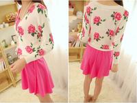 819Korean ladies cute slim fresh flowers  rose print  long-sleeved knitting cardigan