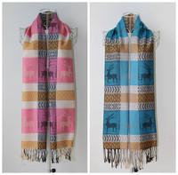 (1piece/lot)2014 Autumn&Winter Women Long Pashmina Scarf Fashion Cartoon Pattern Cotton Knitting Shawl Outdoor Warm Scarves