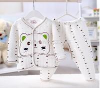 hot selling 2 pcs set baby boy girl kids Cardigan buttons sleepwear suits toddler cartoon Children 100% cotton pajamas sets