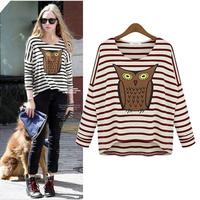 Fashion autumn plus size clothing long-sleeve basic shirt stripe owl loose batwing sleeve t-shirt