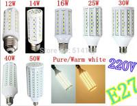 100% Brand new E27 Led Light Bulb light 42/50/60/86/102/132/165 smd 5730 led chip LED corn Bulb Lamp 220V Pure&Warm White