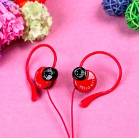 Wholesale Primary Students Headphones Children Ear hook Earphone With Retail package Pink Red White Free Shipping