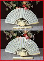 Free shipping 100pcs/lot nice wedding gift white silk fan,silk folding fan