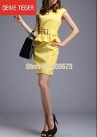 (DEIVE TEGER)Free Shipping 2014 short sleeve Ruffles with belt  OL lady Pencil  evening dress summer dress yellow & green  DQ063