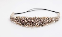 2014 new fashion hair accessories handmade pearl beads headband crystal stones cubic elastic wedding hair band