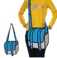 Fedex Free shipping 60pcs/lot 3D Jump Style  Drawing From Cartoon Paper Bag Comic 3D Messenger Bag -blue camera bag