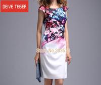 (DEIVE TEGER)Free Shipping 2014 short sleeve print draped  OL lady Pencil  evening dress summer dress Red  & gray  DL222