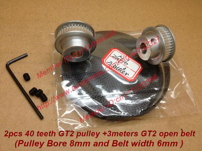venda quente 2 pcs 40 dentes gt2 polia cronometrando furo 8mm& 3 metros gt2 correia dentada largura 6mm 2gt 3d cinto impressora mendel reprap prusa(China (Mainland))