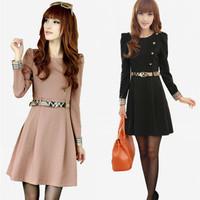 2014 spring and autumn slim gentlewomen elegant long-sleeve knitted one-piece dress belt
