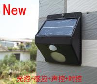 New 4led solar pir motion sensor lights  LED wall lamps  Light control +Motion senser+Voice control+Time control Free shipping
