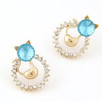 2014 Fashion Crystal Stud Earrings Sweet Small Metal Cat Earrings For Women