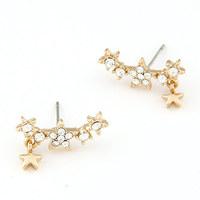Korea Fashion Sweet Star Earrings Female Personally Crystal Stud Earrings