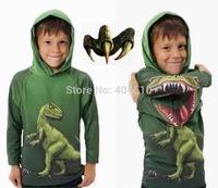 Retail ! boys  hot sale funny sweatshirt dinosaur new design  Spring and Autumn pullover sweatshirt dinosaur  outwear  ELZ-S0215