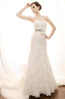 Fashionable Winter Sexy Tube Top Lace wedding dress 2014 white Slim mermaid wedding dresses vestidos de noiva bridal gown W91