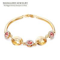 Neoglory 14K Gold Plated Austria Crystal & Rhinestone Charm Bracelets & Bangles for Women Jewelry Accessories Brand 2014 New
