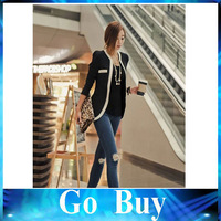 Free shipping 610219 Fashion Women's Korean style boutique small suit jacket Long Sleeve V-Neck One Button slim Blazer
