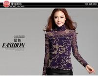 High Quality Lace Shirt Autumn 2014 decoration body yarn clothes rose a gauze bottoming shirt female long sleeve FashionT-shirt